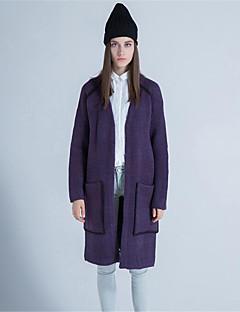 Damen Lang Strickjacke-Lässig/Alltäglich Einfach Solide Druck V-Ausschnitt Langarm Wolle Polyester Herbst Winter Dick Mikro-elastisch