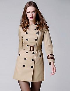 여성 솔리드 셔츠 카라 긴 소매 트렌치 코트,단순한 캐쥬얼/데일리 보통 폴리에스테르 가을