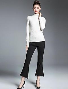 Damen Standard Pullover-Lässig/Alltäglich Retro Chinoiserie Solide Druck Rollkragen Langarm Seide Kaschmir Wolle Kunstseide Winter Mittel