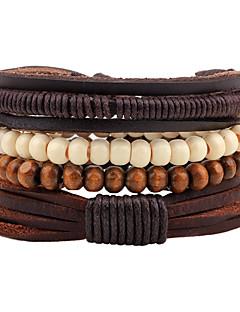 Herre Strand Armbånd Sjal Armbånd Mote Justerbare Personalisert Håndlaget Lær Tre Rund Form Smykker Til Gate