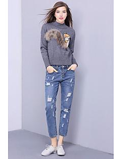Damer Sødt I-byen-tøj Normal Pullover Trykt mønster,Rund hals Langærmet Polyester Efterår Vinter Medium Mikroelastisk