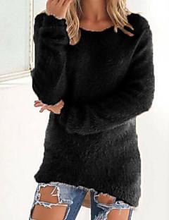 Damen Standard Pullover-Lässig/Alltäglich Solide Rundhalsausschnitt Langarm Kaschmir Herbst Winter Mittel Mikro-elastisch