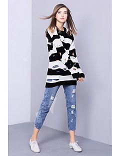 Damer Simpel I-byen-tøj Normal Pullover Stribet,Rund hals Langærmet Bomuld Vinter Medium Mikroelastisk
