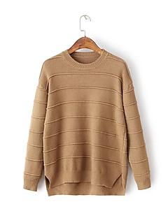 Damen Standard Pullover-Ausgehen Lässig/Alltäglich Einfach Niedlich Solide Rundhalsausschnitt Langarm Wolle Baumwolle Frühling Herbst