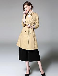 여성 솔리드 숄 라펠 ¾ 소매 트렌치 코트,스트리트 쉬크 데이트 캐쥬얼/데일리 긴 면 가을 겨울