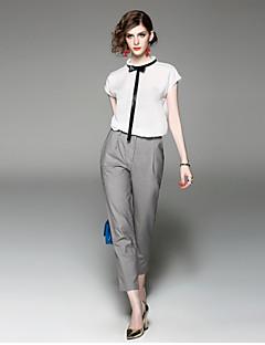 Damen Solide Street Schick Lässig/Alltäglich Arbeit T-Shirt-Ärmel Hose Anzüge,Ständer Sommer Herbst Kurzarm Unelastisch