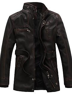 Masculino Jaquetas de Couro Casual Vintage Inverno,Sólido Longo Poliuretano Colarinho Chinês Manga Longa