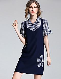 Kortærmet Krave Mikroelastisk Damer Patchwork Sommer Simple I-byen-tøj T-shirt Bukse Jakkesæt