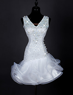 Latin Dansı Elbiseler Kadın's Performans Splandeks İnci Organze 1 Parça Kolsuz Yüksek Elbise