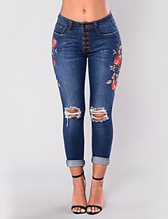 Damen Sexy Street Schick Hohe Hüfthöhe Dehnbar Jeans Skinny Hose,Ripped Stickerei