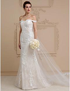 Tubinho Cauda Catedral Renda Tule Vestido de casamento com Apliques de LAN TING BRIDE®