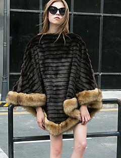 Feminino Casaco de Pêlo Para Noite Casual Trabalho Simples Activo Outono Inverno,Listrado Longo Pêlo Sintético Pêlo de Guaxinim Lapela