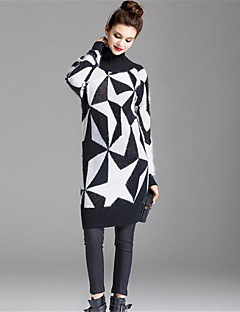 Lang Pullover Fritid/hverdag Vintage Chinoiserie Dame,Ensfarget Trykt mønster Rullekrage Langermet Ull Vinter Medium Mikroelastisk