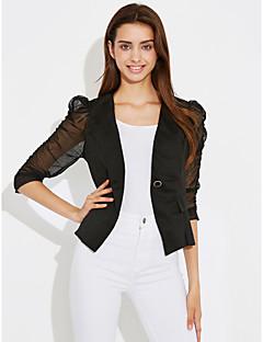여성 프린트 라운드 넥 긴 소매 블레이져,단순한 작동 긴 그외 봄 가을