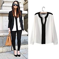 2015 новый европейский стиль глубоко V Blusas feminina офис леди блузки сек
