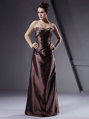 Floor-length Taffeta Bridesmaid Dress A-line / Princess / Sheath / Column Strapless Plus Size / Petite with Ruching