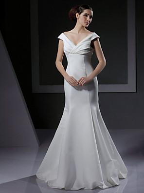 Lanting Bride® בתולת ים \ חצוצרה עלמות / אגס / קטן / מידה גדולה / מלבן / תפוח / שעון חול / משולש הפוך שמלת כלה - קלסי ונצחי / שיק