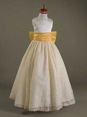 Lanting Bride A-line / Princess Floor-length Flower Girl Dress - Lace / Satin Sleeveless Scoop withBow(s) / Draping / Lace / Sash /