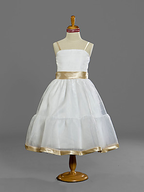 Lanting Bride® K lýtkům Satén / Tyl Šaty pro malou družičku A-Linie / Princess Špagetová ramínka Přirozený s Šerpa / Stuha