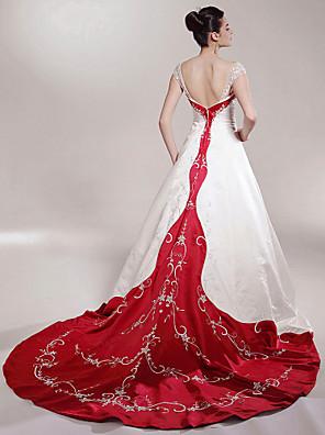小柄な花嫁のAライン/プリンセスランティング/プラスサイズウェディングドレスチャペルの列車のオフショルダーのサテン