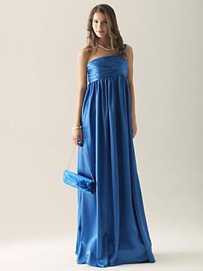 Lanting Bride® Na zem Charmeuse Šaty pro družičky - Pouzdrové Jedno rameno Větší velikosti / Malé s Nabírání / Sklady