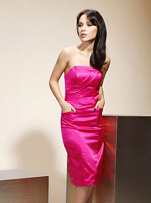 Lanting Bride® Ke kolenům Elastický satén Šaty pro družičky - Pouzdrové Bez ramínek Větší velikosti / Malé s Kapsy