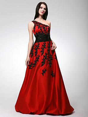 Ball / Formeller Abend / Jugendweihe Kleid - Vintage inspiriert A-Linie / Prinzessin Ein/Schulter Boden-Länge Satin mitApplikationen /