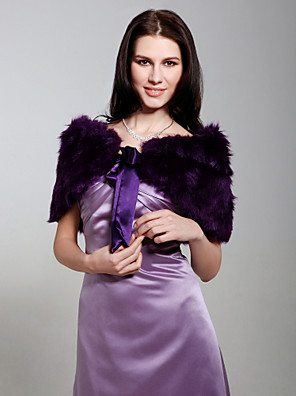 Fur Wraps / Wedding  Wraps Shrugs Sleeveless Feather/Fur White / Champagne / Grape Party/Evening Bow Lace-up