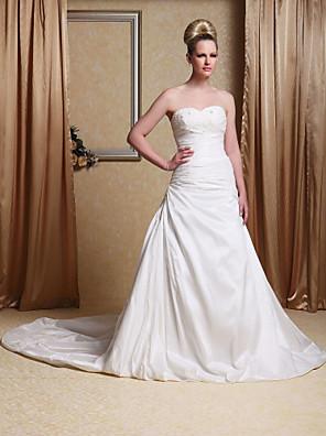 lanting는 몸집이 작은 A 라인 / 공주 신부 / 플러스 웨딩 드레스 예배당 기차 크기