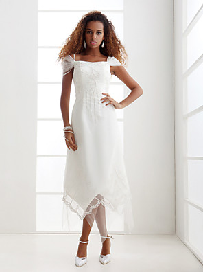 Lanting Bride® מעטפת \ עמוד קטן / מידה גדולה שמלת כלה - שיק ומודרני / זוהר ודרמטיות / לקבלת פנים א-סימטרי מתחת לכתפיים אורגנזה עם