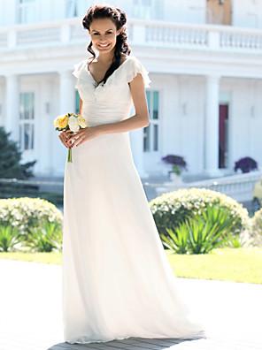 lanting 신부 트럼펫 / 아담 인어 / 플러스 웨딩 드레스 층 길이의 V 넥 쉬폰 크기