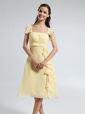 Mi-long Mousseline de soie Robe de Demoiselle d'Honneur  Trapèze Carré / Bretelles Grande Taille / Petite avec Drapée / Volants