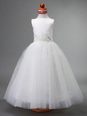 Lanting Bride A-lijn / Baljurk / Prinses Tot de grond Bloemenmeisjesjurk - Satijn / Tule Mouwloos Bateau met Kralen / Drapering