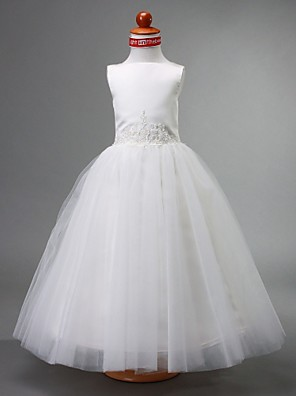 Lanting Bride A-linje / Balkjole / Prinsesse Gulvlang Blomsterpigekjole - Satin / Tyl U. ærmer Bateau med Perler / Drapering