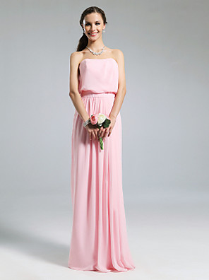 Floor-length Chiffon Bridesmaid Dress Sheath / Column Strapless Plus Size / Petite with Pleats