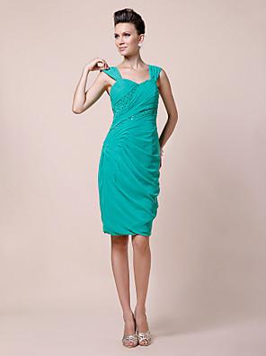 Sheath / Column Plus Size / Petite Mother of the Bride Dress Knee-length Sleeveless Chiffon with Beading / Side Draping