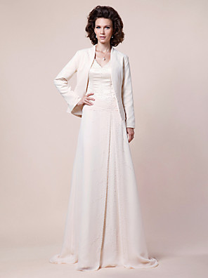 A-line Plus Size / Petite Mother of the Bride Dress - Wrap Included Sweep / Brush Train Long Sleeve Chiffon / Satin withBeading / Draping