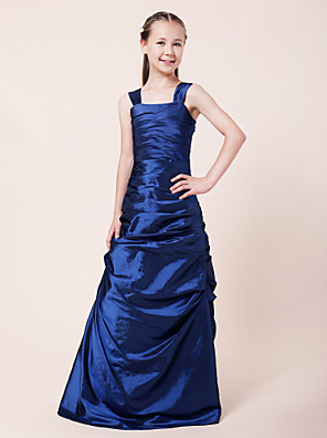 Lanting Bride® Longo Tafetá Vestido de Daminha de Honra Linha A / Princesa Alças Natural com Drapeado Lateral / Franzido