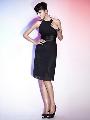 TS Couture® Cocktail Party / Holiday Dress - Little Black Dress Plus Size / Petite Sheath / Column Halter / Jewel Knee-length Chiffon / Stretch Satin