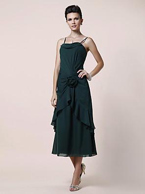Lanting Bride® גזרת A פלאס סייז (מידה גדולה) / פטיט שמלה לאם הכלה  באורך הקרסול ללא שרוולים שיפון - פרח(ים) / בד נשפך בצד
