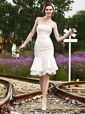 花嫁のトランペット/人魚小柄をランティング/プラスウェディングドレス膝丈ストラップレスのレース/サテンのサイズ