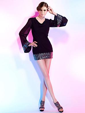 Koktélparty Ruha - Kis fekete ruha Szűk szabású V-nyakkivágás Rövid / mini Sifon / Flitteres val vel Flitter