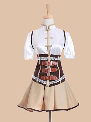 קיבל השראה מ Puella Magi Madoka Magica Tomoe Mami אנימה תחפושות קוספליי חליפות קוספליי / שמלות טלאים לבן קצר וסט / חולצה / חצאית / מחוך