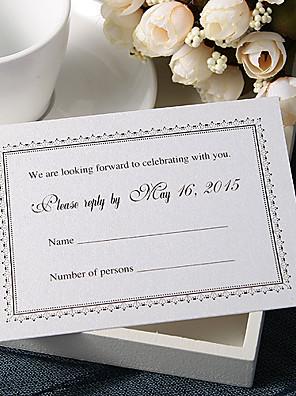 Személyre szabott Lapos kártya Esküvői Meghívók Meghívók-50 Darab / készlet Előírásos stílus Gyöngy-papír 9 * 12,5 cm