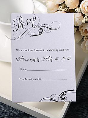 """Gepersonaliseerde Platte Kaart Uitnodigingen van het Huwelijk Antwoordkaarten-50 Stuk/Set Formele Stijl Parel Papier 3 ½"""" x 5""""(9cm*12.5cm)"""