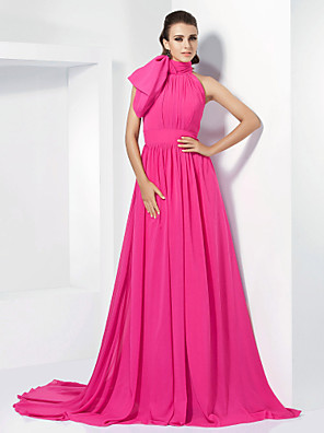 Evento Formal Vestido - Elegante Corte en A / Princesa Cuello Alto Corte Raso con Lazo(s) / Cinta / Lazo / Recogido Lateral