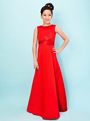 Lanting Bride® עד הריצפה סאטן שמלה לשושבינות הצעירות  גזרת A / נסיכה עם תכשיטים טבעי עם אפליקציות / חרוזים / פרח(ים) / סרט