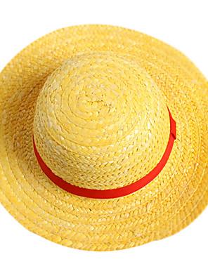 כובע קיבל השראה מ One Piece Monkey D. Luffy אנימה אביזרי קוספליי כתרים / כובע צהוב חבל קש זכר