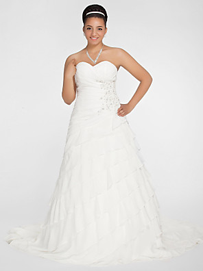 Lanting Bride A-line / Princess Petite / Plus Sizes Wedding Dress-Chapel Train Sweetheart Chiffon