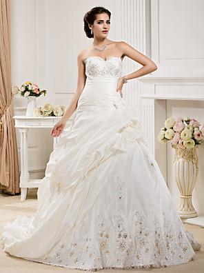 Lanting Bride® נשף קטן / מידה גדולה שמלת כלה - קלסי ונצחי / אלגנטי ויוקרתי שובל קורט מחשוף לב טפטה עם